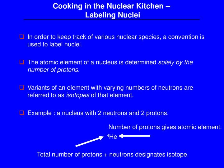 Cooking in the Nuclear Kitchen --