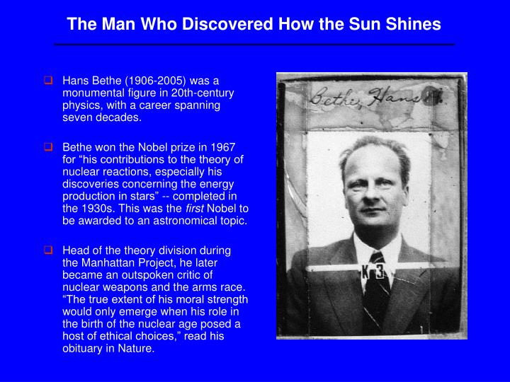 The Man Who Discovered How the Sun Shines