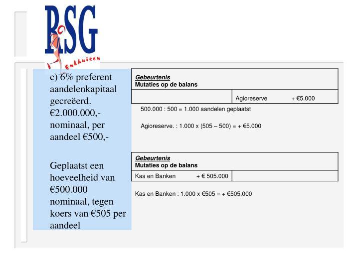 c) 6% preferent aandelenkapitaal gecreëerd. €2.000.000,- nominaal, per aandeel €500,-