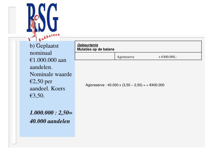 b) Geplaatst nominaal €1.000.000 aan aandelen. Nominale waarde €2,50 per aandeel. Koers €3,50.