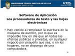 software de aplicaci n los procesadores de texto y las hojas electr nicas
