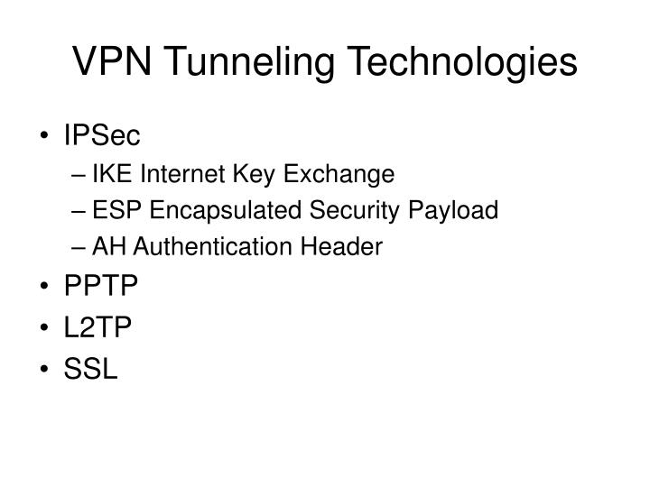VPN Tunneling Technologies