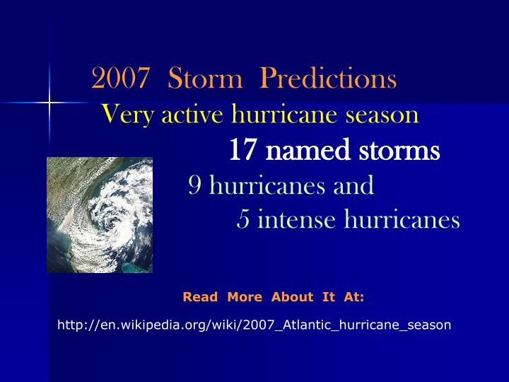 2007  Storm  Predictions