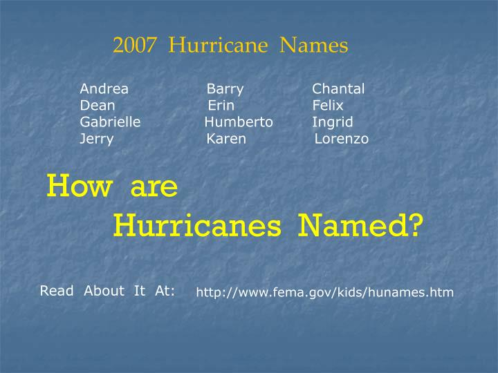 2007  Hurricane  Names