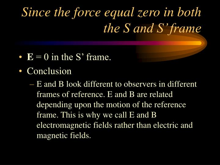 Since the force equal zero in both the S and S' frame