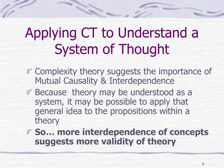 Applying CT to Understand a System of Thought