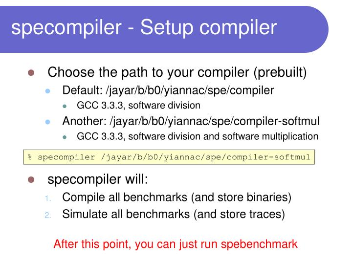 specompiler - Setup compiler