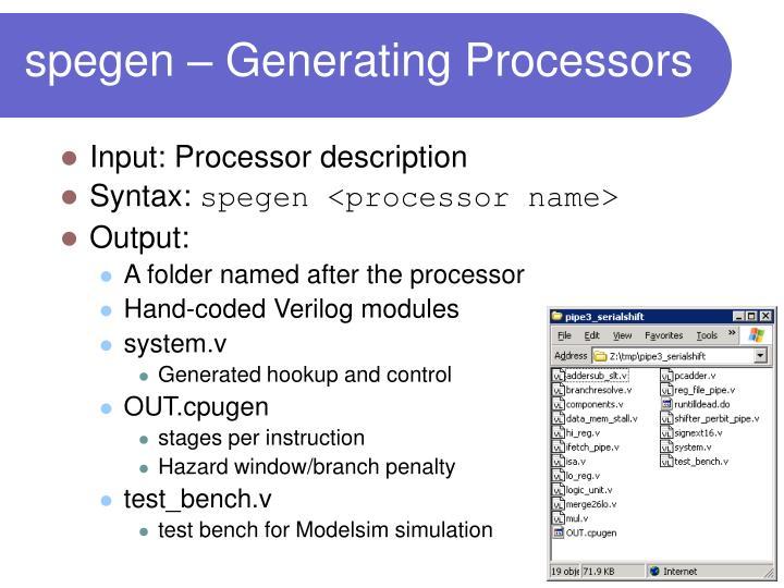 spegen – Generating Processors