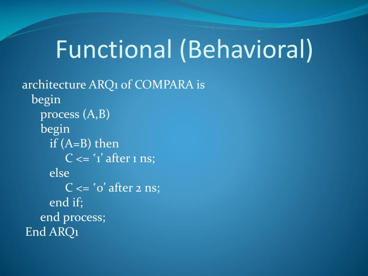 Functional (Behavioral)