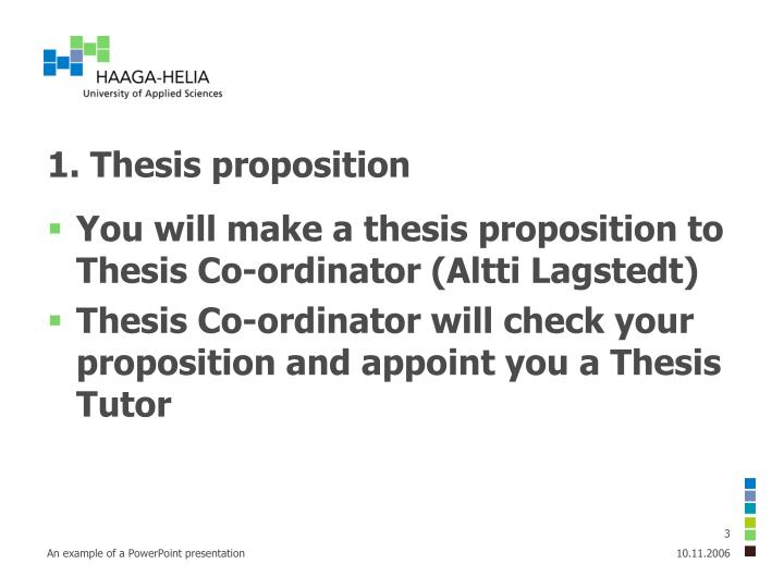 1. Thesis proposition