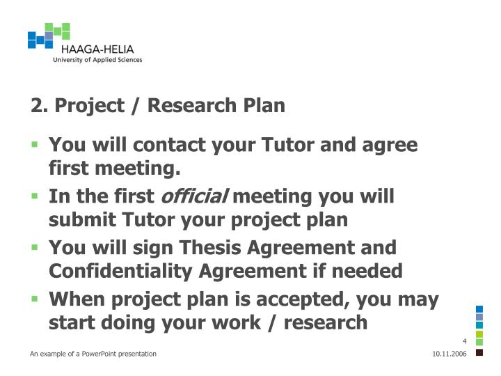 2. Project / Research Plan