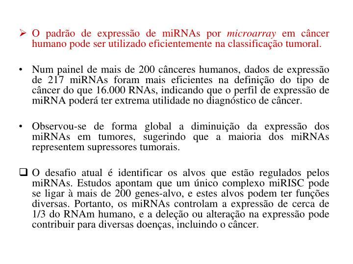 O padrão de expressão de miRNAs por