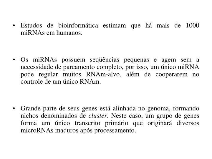 Estudos de bioinformática estimam que há mais de 1000 miRNAs em humanos.