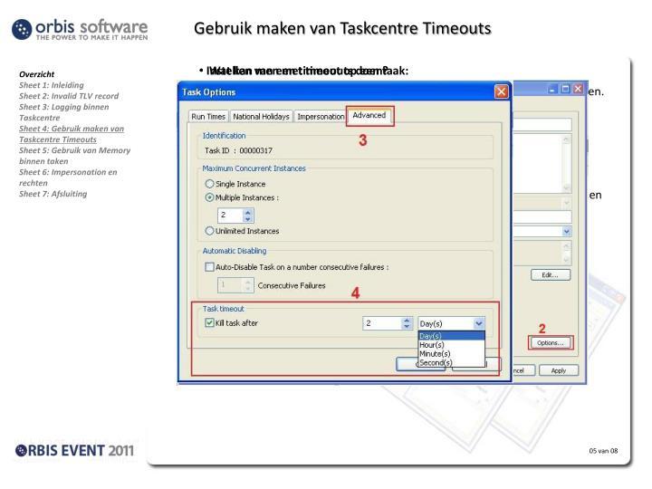 Gebruik maken van Taskcentre