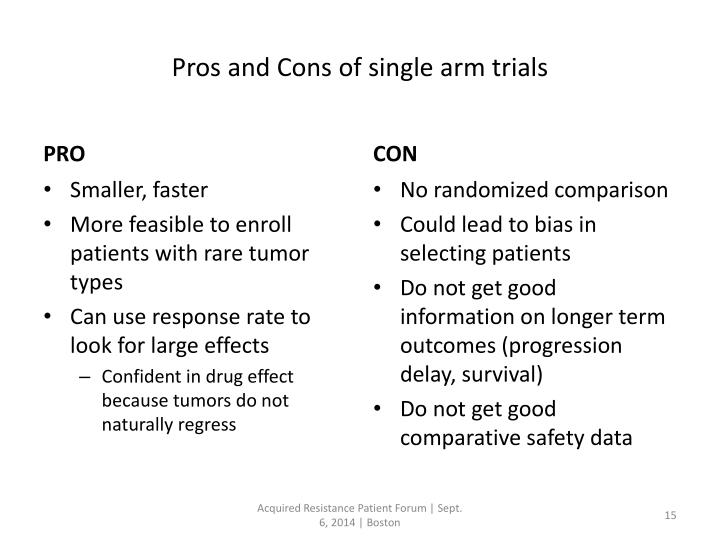 Pros and Cons of single arm trials