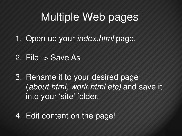 Multiple Web pages