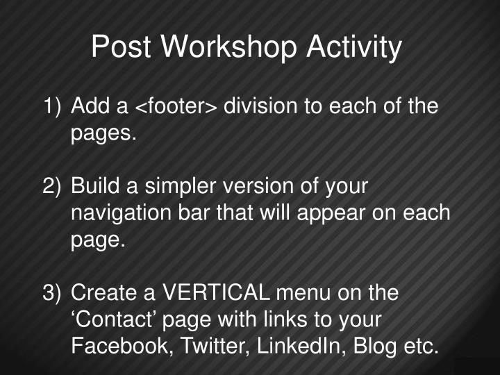 Post Workshop Activity