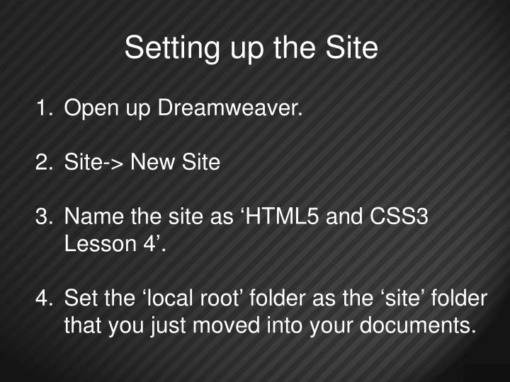 Setting up the Site