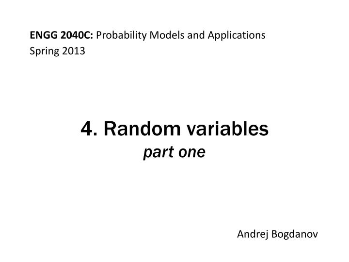 4 random variables part one