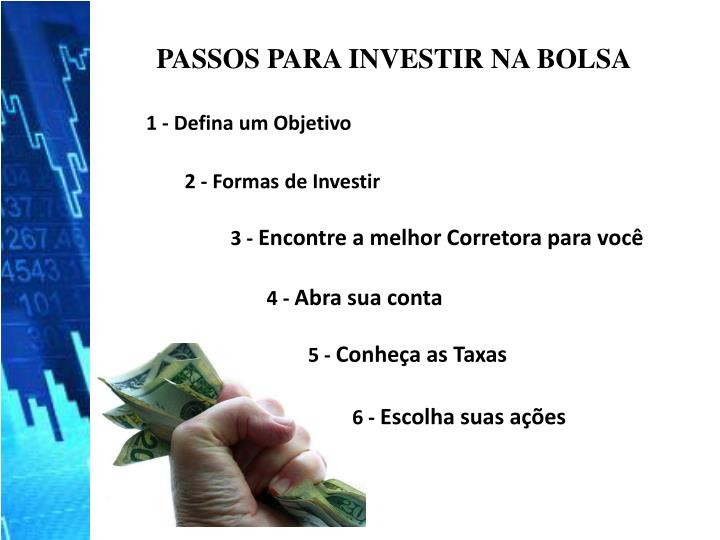 PASSOS PARA INVESTIR NA BOLSA
