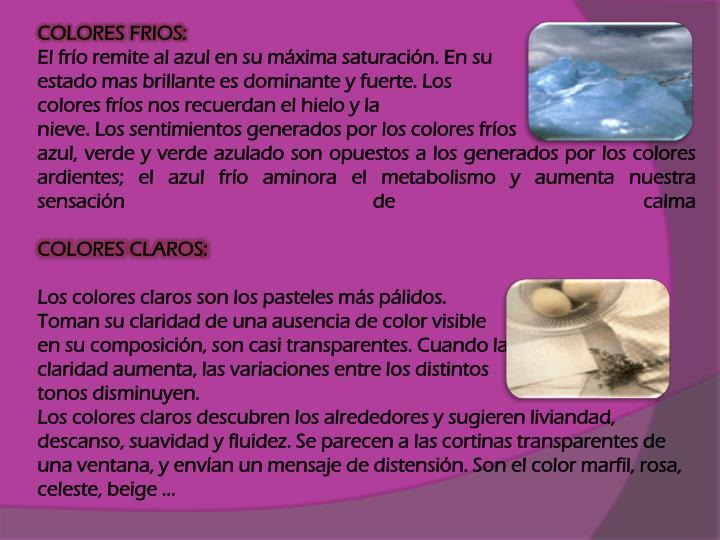 COLORES FRIOS: