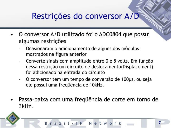 Restrições do conversor A/D