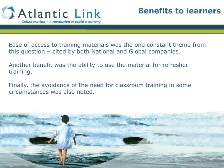 Benefits to learners
