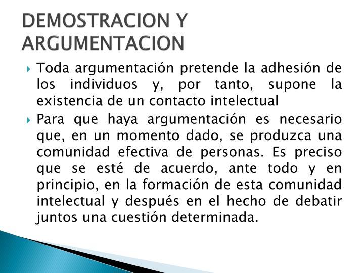 DEMOSTRACION Y ARGUMENTACION