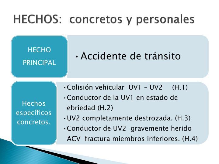 HECHOS:  concretos y personales