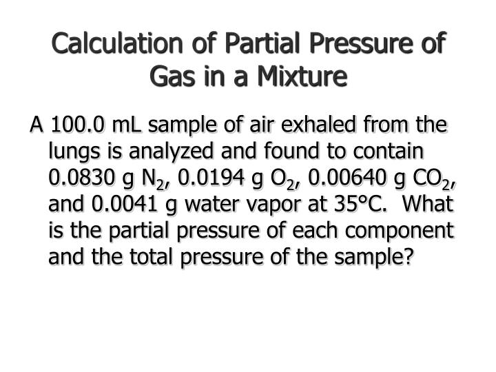 Calculation of Partial Pressure of Gas in a Mixture