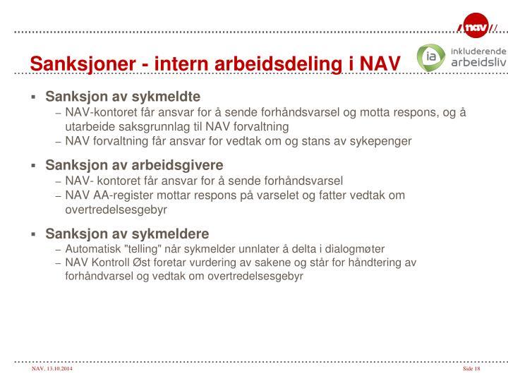Sanksjoner - intern arbeidsdeling i NAV