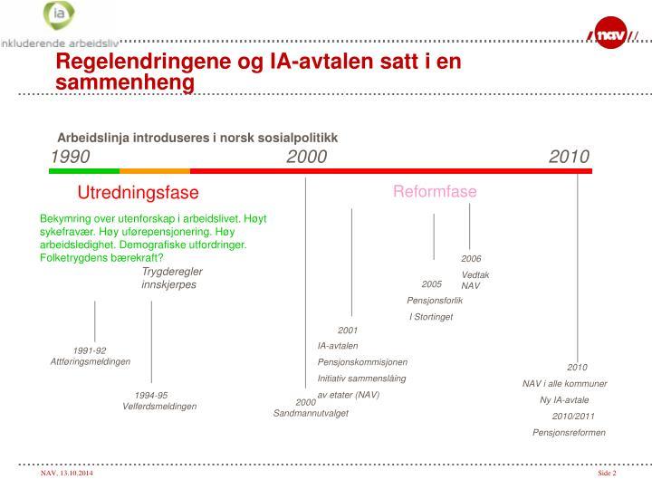Regelendringene og IA-avtalen satt i en sammenheng