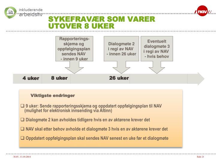 SYKEFRAVÆR SOM VARER UTOVER 8 UKER