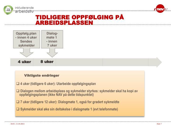 TIDLIGERE OPPFØLGING PÅ ARBEIDSPLASSEN