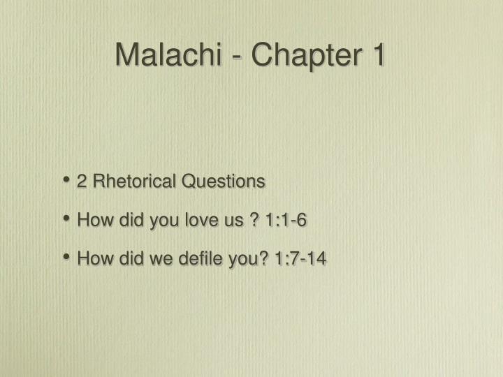 Malachi - Chapter 1