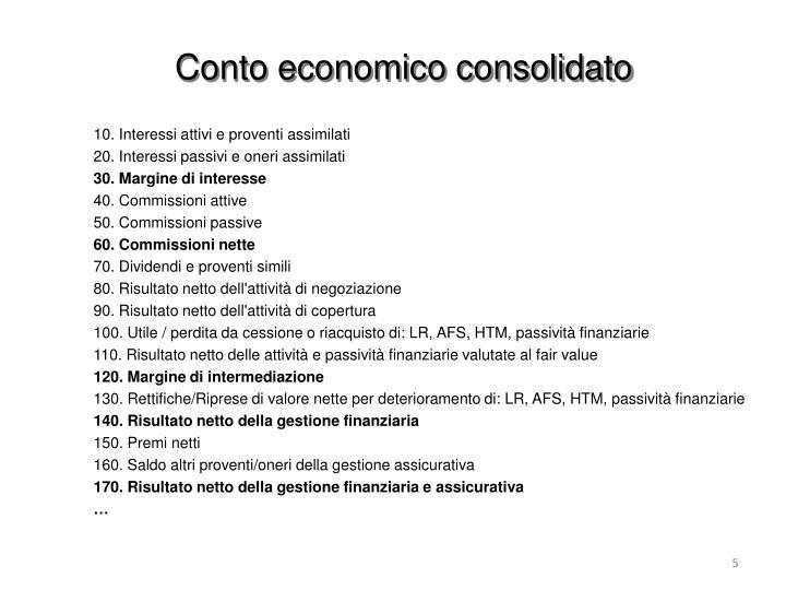 Conto economico consolidato