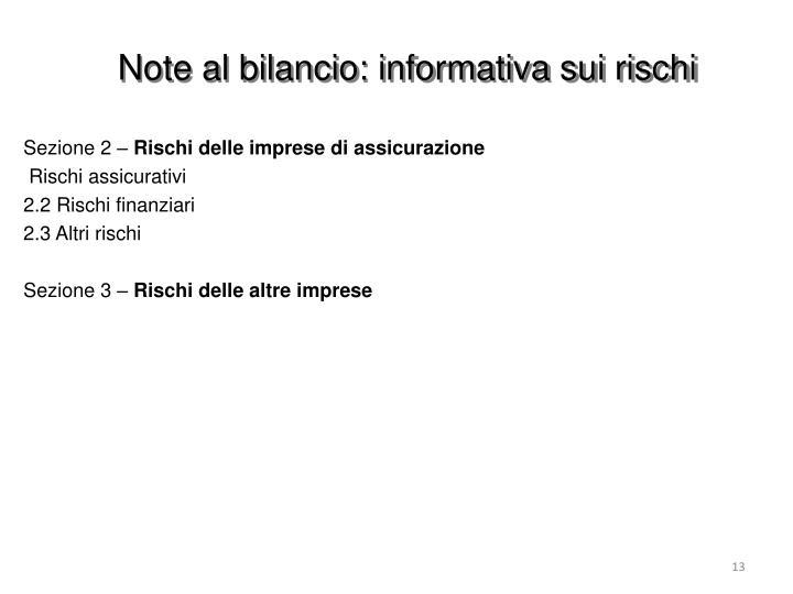 Note al bilancio: informativa sui rischi