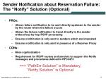 sender notification about reservation failure the notify solution optional1