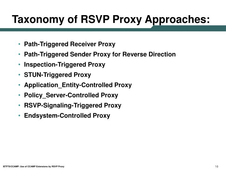 Taxonomy of RSVP Proxy Approaches: