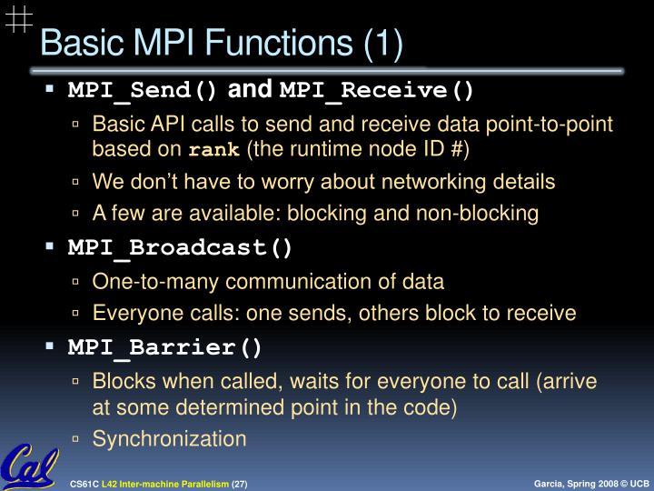 Basic MPI Functions (1)