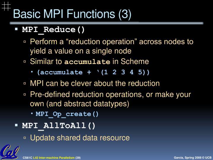 Basic MPI Functions (3)