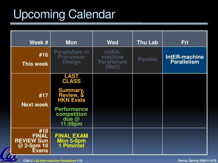 Upcoming Calendar