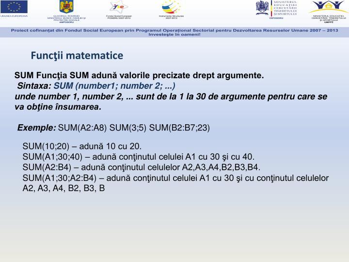 Funcţii matematice