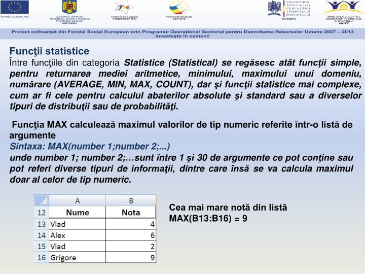 Funcţii statistice