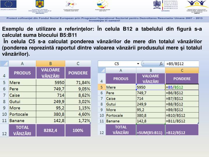 Exemplu de utilizare a referinţelor: În celula B12 a tabelului din figură s-a calculat suma blocului B5:B11