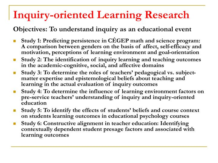 Inquiry-oriented Learning Research