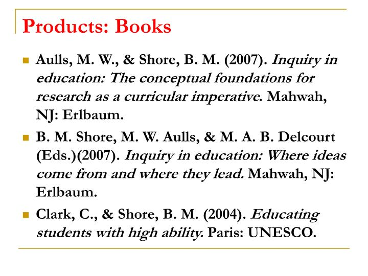 Products: Books