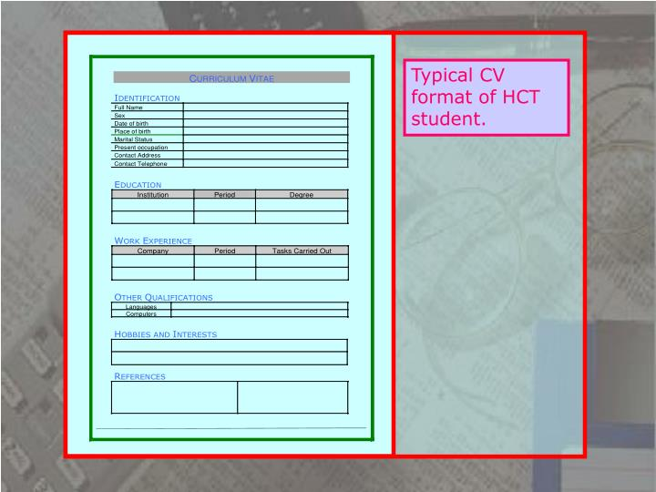 Typical CV format of HCT student.