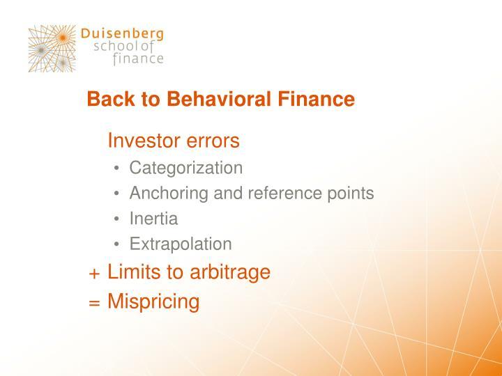 Back to Behavioral Finance