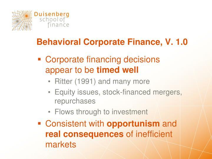 Behavioral Corporate Finance, V. 1.0